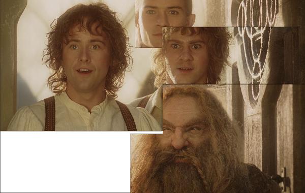 Superposición de la entrada de Gimli, Pippin, Merry y Legolas