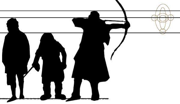 Gráfico comparativo de estatura incorrecta de los personajes de El Señor de los Anillos